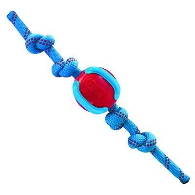 KONG Jaxx Brights Ball with Rope Assorted Medium