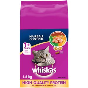 Whiskas Adult Cat Hairball Control with Real Chicken 1.5KG