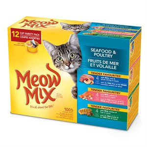 Smuckers Meow Mix Tender Favourites Seafood & Poultry Variety Pack 4x12 / 78g